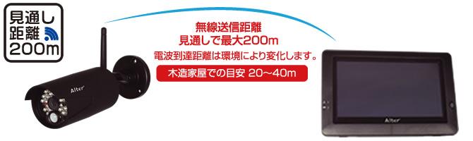 最大200mの電波到達距離