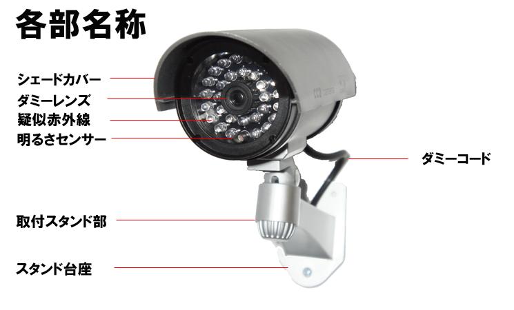 防犯ダミーカメラDC-027IRの各部名称