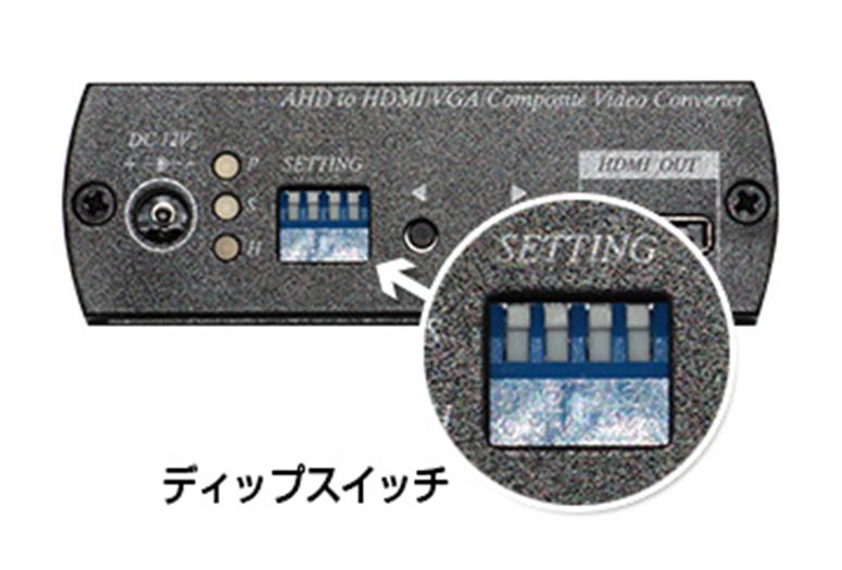 AHD-HDMI変換器(E-AHD-HDMI) スイッチで出力解像度を選択
