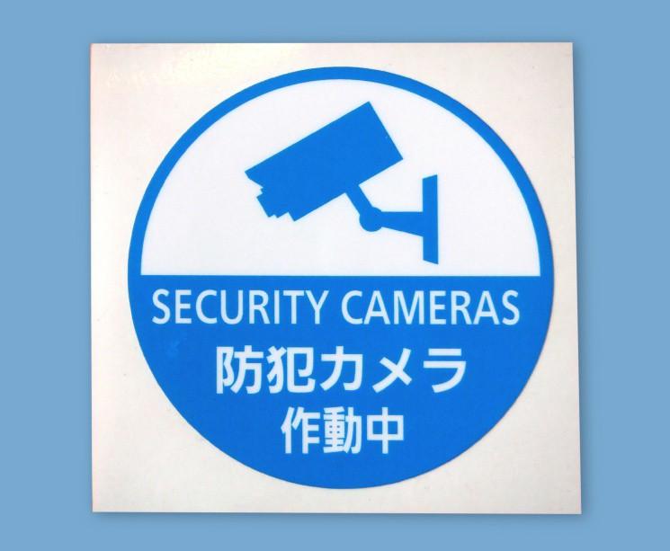防犯ステッカー 防犯カメラ作動中 丸型 青色