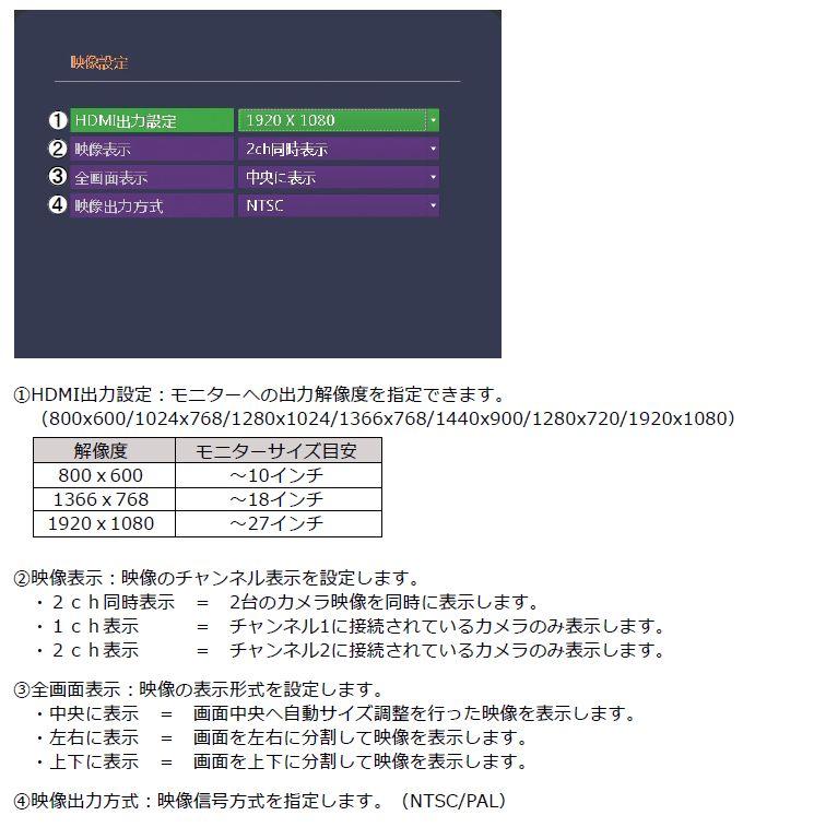 2ch SDカード録画機 映像設定