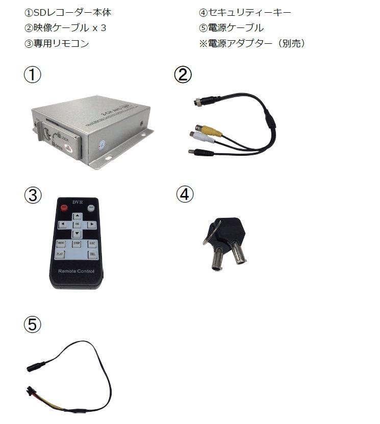 2ch SDカード録画機 付属品
