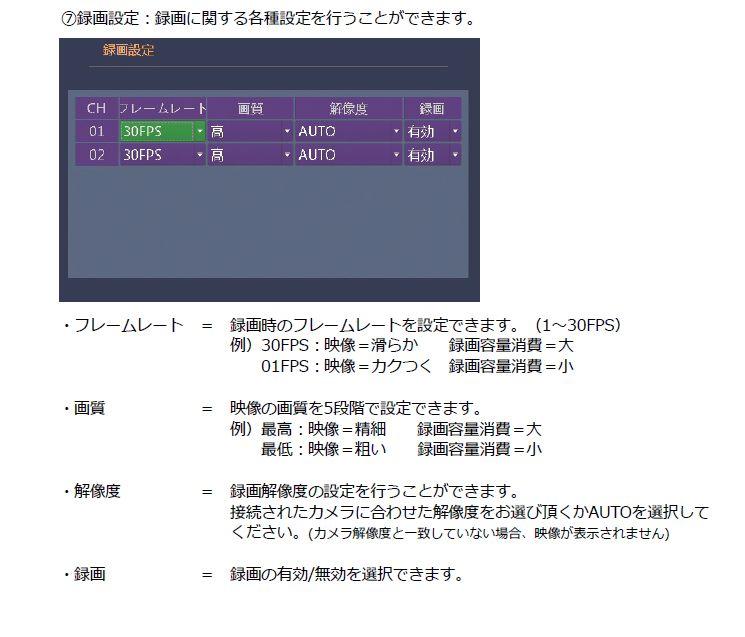 2ch SDカード録画機 録画設定