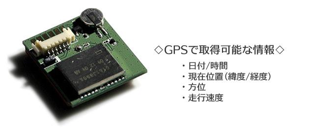GPS内蔵で時間・位置・速度・方位を正確に記録!