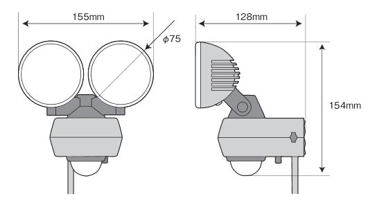 10W 2灯式 360度センサーライト LED-AC2020 寸法図