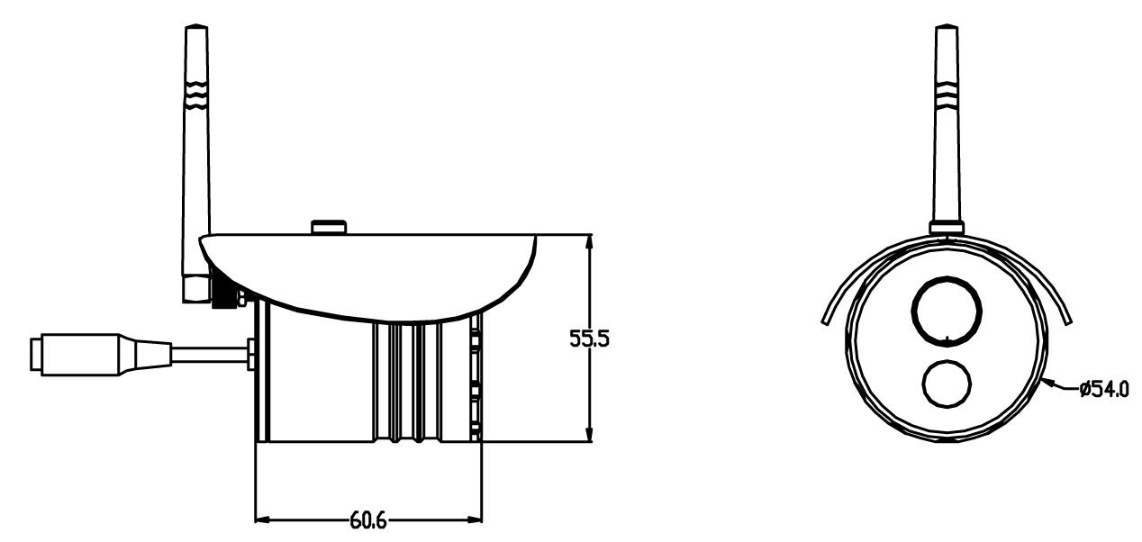 カメラの寸法図 MT-WCM200