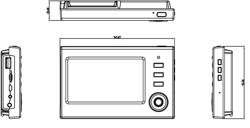 モニターの寸法図 MT-WCM200