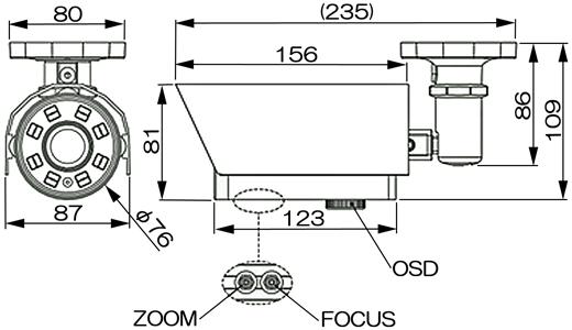 屋外用防犯カメラ 52万画素 MTW-S44IRの寸法図