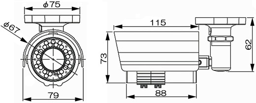 小型 防水仕様 高画質 防犯カメラ MTW-S35IR 寸法図