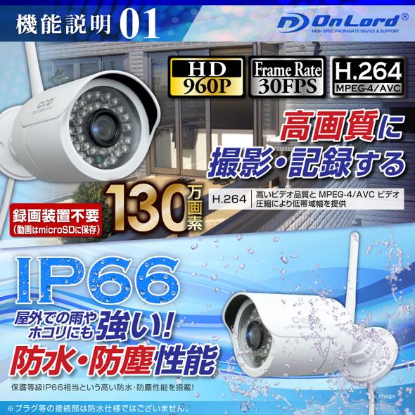 録画機能付屋外赤外線付カメラ OL-027W