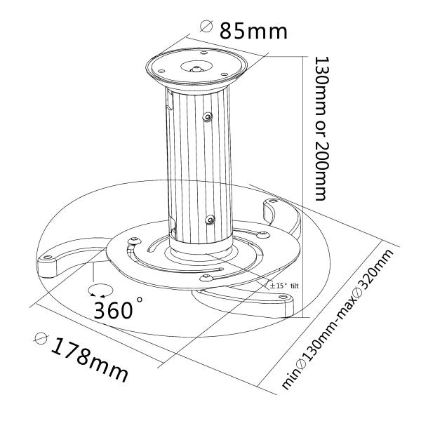 天吊り金具 プロジェクター用 360度回転可能 PRB-1寸法図