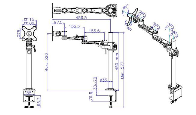 デスクアーム寸法図 7220S