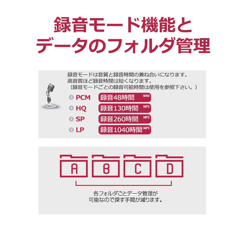 録音モード機能とデータのフォルダ管理 仕掛け録音ボイスレコーダー 8GB | TOP-10