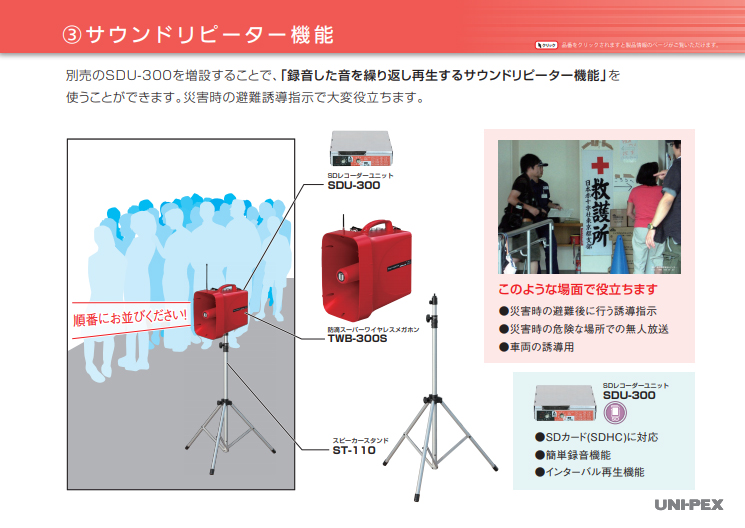 防滴スーパーワイヤレスメガホン TWB-300S サウンドリピーター機能説明の画像
