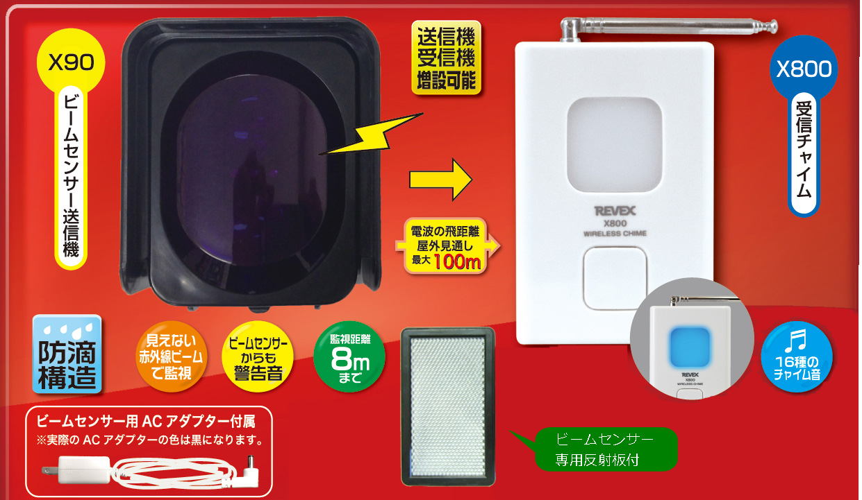 リーベックス 赤外線ビームセンサーチャイムセット X890